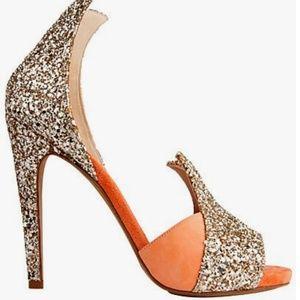 Aperlai Heels Coral Suede Gold Glitter Size 7
